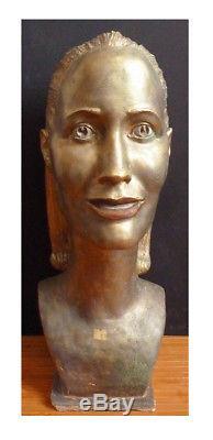 Tête de femme statue de Pikko NIKOLITCH (1907-1979) Montrouge Serbie