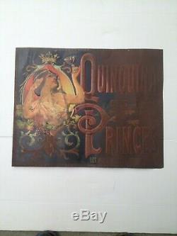 Tôle publicitaire Quinquina des Princes Femme Fleurs Art Nouveau Mucha Grasset