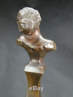 Tres Joli Buste De Femme Rêve Bronze Patine Art Nouveau 1900 Sur Base Marbre