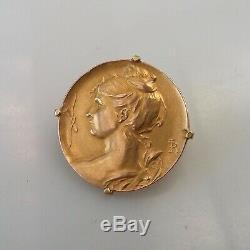 Très belle broche art nouveau buste de femme vers 1880 / 1910 Or 18 carats