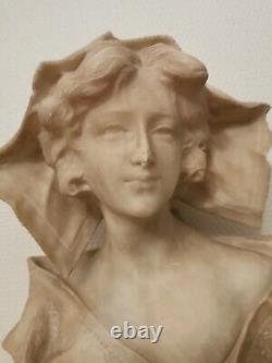 Très grand buste de Jeune Femme Art Nouveau fin XIXème Albâtre Signée