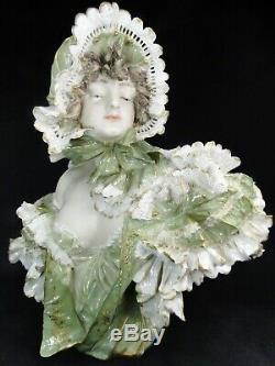 Turn & Teplitz Amphora Bohemia 1900 Rare Buste De Femme Art Nouveau Bisque Bust