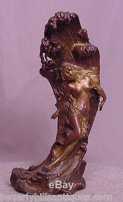 Ultime Art Nouveau Vienna Bronze c. Kauba Geschutzt Chair Femme sur un Vague