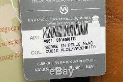 Valentina Sac à Dos Hobo Noir avec / Marron Cuir Fabriqué en Italie Art. 901