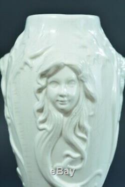 Vase ancien art Nouveau st Mucha art nouveau Portrait Femme applique craquelé