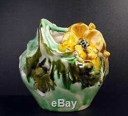 Vase art-nouveau c1900 fleurs & femme nue signature papillon cracked glazed 17cm