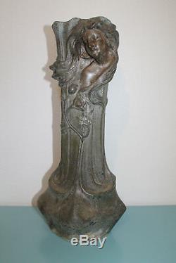 Vase en Régule Signé Flora Décor Femme Art Nouveau 1900 45 cm