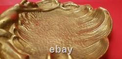 Vide poche laiton bronze art nouveau femme nue cendrier vintage ancien
