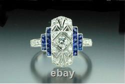 Vintage Fiançailles Femme Bague Ancien Art Déco Saphir Bleu Diamant Blanc Cadeau