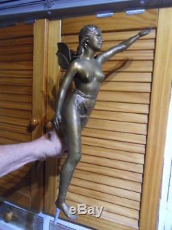 Vintage Statue Femme Fée Nu Art nouveau Fantastique Elfe Ailé Nymphe naked fairy