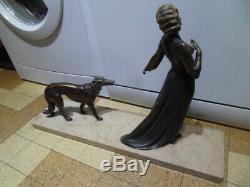 Vintage Statue art nouveau Femme Elegante au levrier greyhound barzoi by ROGGIA