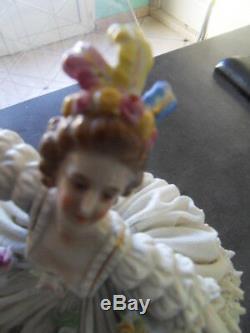 Vintage statue femme elegante danseuse porcelaine Germany Dresden Saxe Meisen