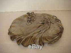 WMF Superbe Plat ou coupe murale Femme ART NOUVEAU Etain 92% VB593