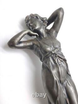 WMF sculpture de jeune femme époque Art Nouveau 1900