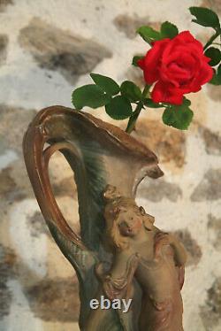 XXe Grand Vase 51cm Art Nouveau Jugendstil Plâtre Peint Polychrome Femme Nymphe