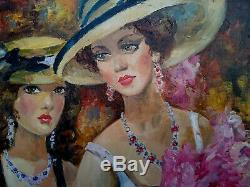 Yuri DENISSOV (Deux jeunes femmes aux chapeaux, aux verres), Huile sur toile