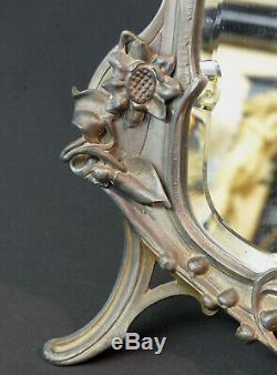 Z 1900 art nouveau très beau miroir à poser 45cm glace cadre étain femme fleur