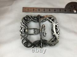 #yd# Ancienne boucle de ceinture argent massif art nouveau et strass